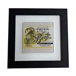 Quadro de Vidro Decorativo Cerveja Bock Moldura em Madeira - 20x20cm