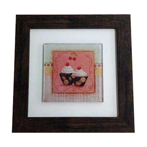 Quadro de Vidro Decorativo Dois Cupcakes Moldura em Madeira - 20x20cm