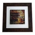 Quadro de Vidro Decorativo Expresso Moldura em Madeira - 20x20cm