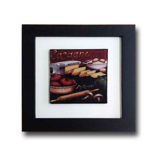 Quadro de Vidro Decorativo Lasagne c/ Moldura em Madeira - 20x20 cm