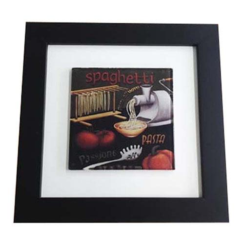 Quadro de Vidro Decorativo Spaghetti Moldura em Madeira - 20x20cm