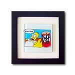 Quadro de Vidro Duff e Homer Simpson com Moldura em Madeira - 20x20 cm