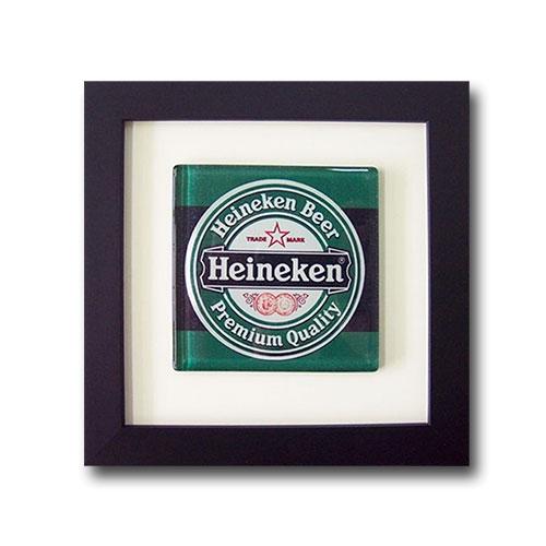 Quadro de Vidro Heineken Beer com Moldura em Madeira - 20x20 cm