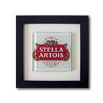 Quadro de Vidro Stella Artois com Moldura em Madeira - 20x20 cm