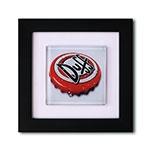 Quadro de Vidro Tampinha Duff com Moldura em Madeira - 20x20 cm