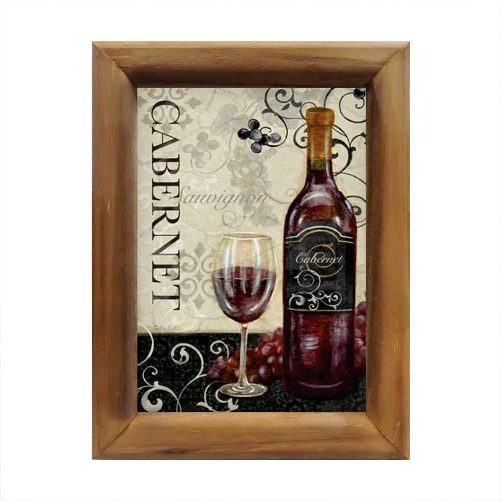 Quadro Vinho Tinto Cabernet em Madeira - 26x20 cm