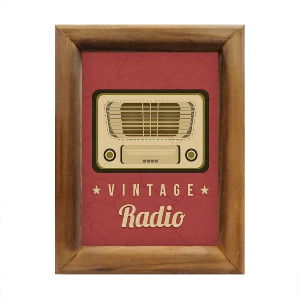 Quadro Vintage Radio Vermelho e Bege em Madeira - 26x20 cm