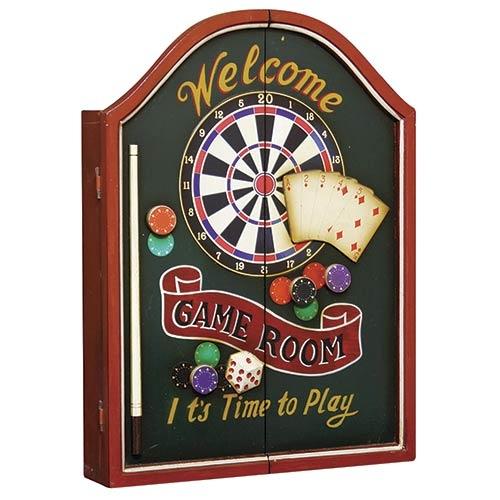 Quadro Welcome Game Room em Madeira com Jogo de Dardos - Oldway - 60x44 cm