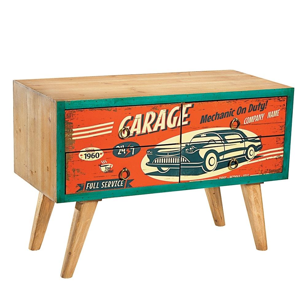 Rack Retrô Garage - 4 Gavetas - Vermelho/Marrom em Madeira - 80x55 cm