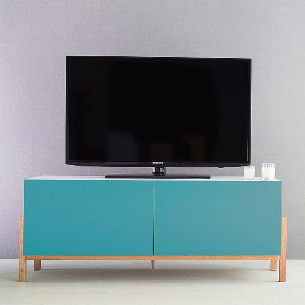 Rack para TV Eric 2 Portas Branco e Azul em MDF - 126x48,5 cm