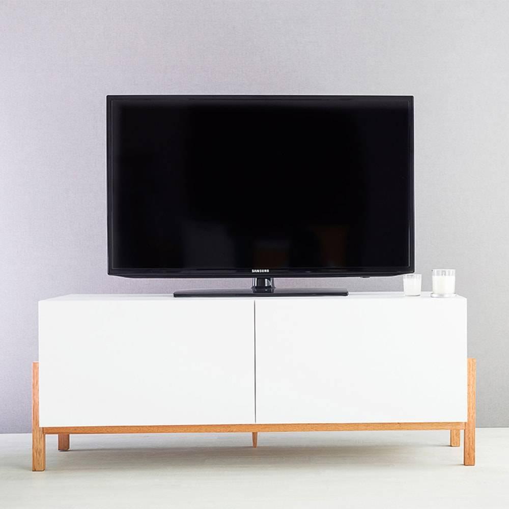 Rack para TV Eric 2 Portas Branco em MDF - 126x48,5 cm