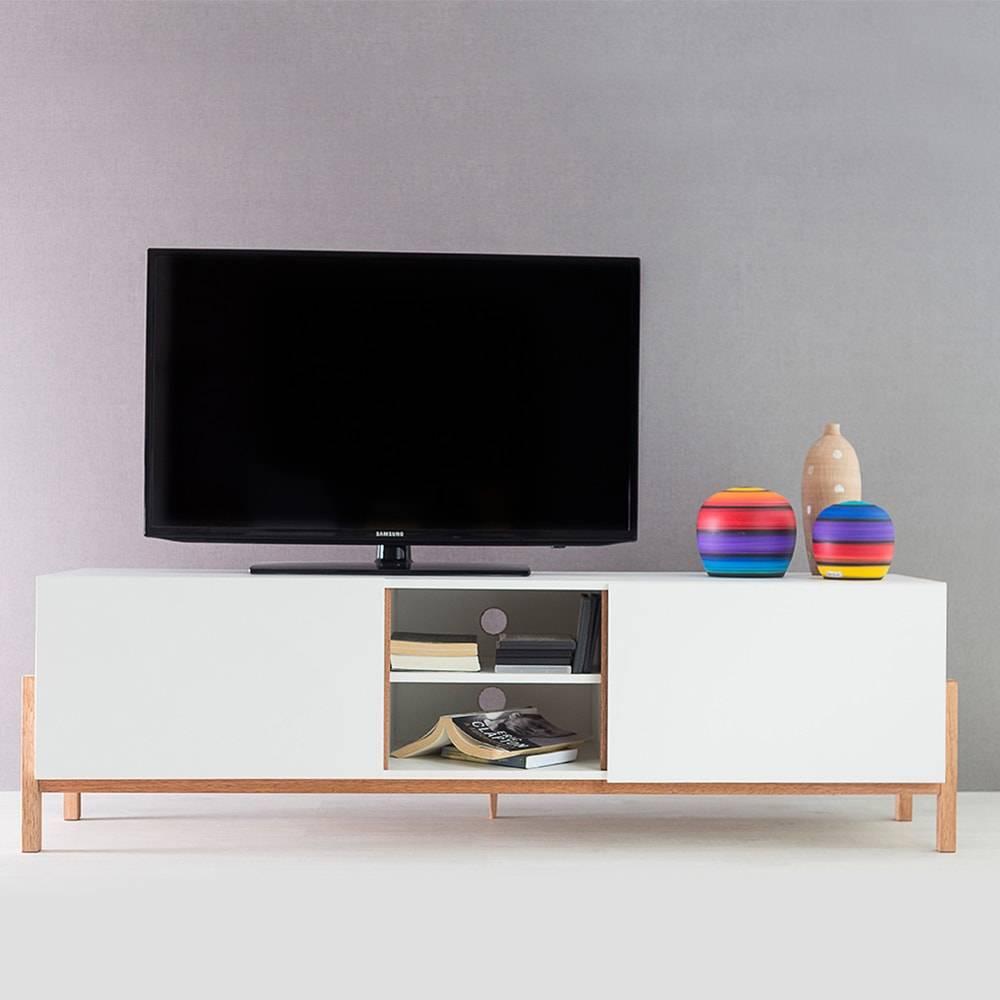 Rack para TV Eric Branco com 3 Prateleiras e 2 Portas em MDF - 166x48,5 cm