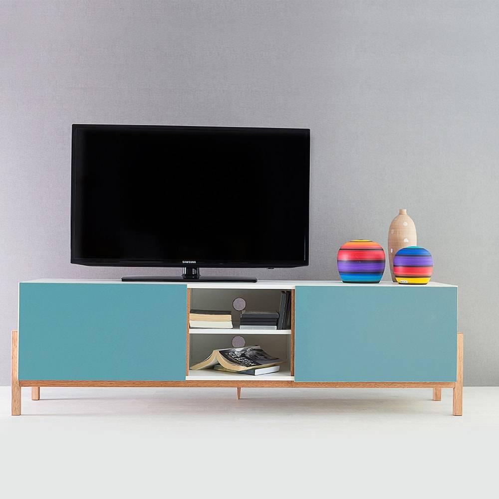 Rack para TV Eric Branco e Azul com 3 Prateleiras e 2 Portas em MDF - 166x48,5 cm