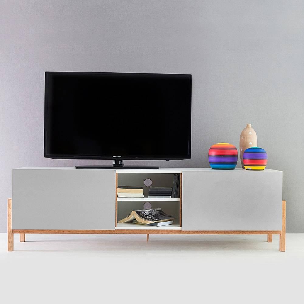 Rack para TV Eric Branco e Cinza com 3 Prateleiras e 2 Portas em MDF - 166x48,5 cm