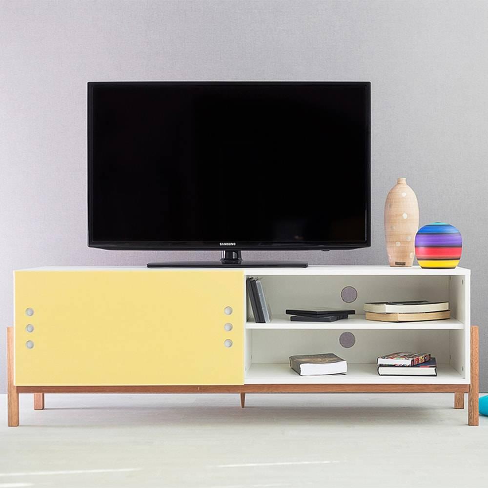Rack para TV Eric Branco Longilíneo com Porta de Correr Amarela em MDF - 146x48,5 cm