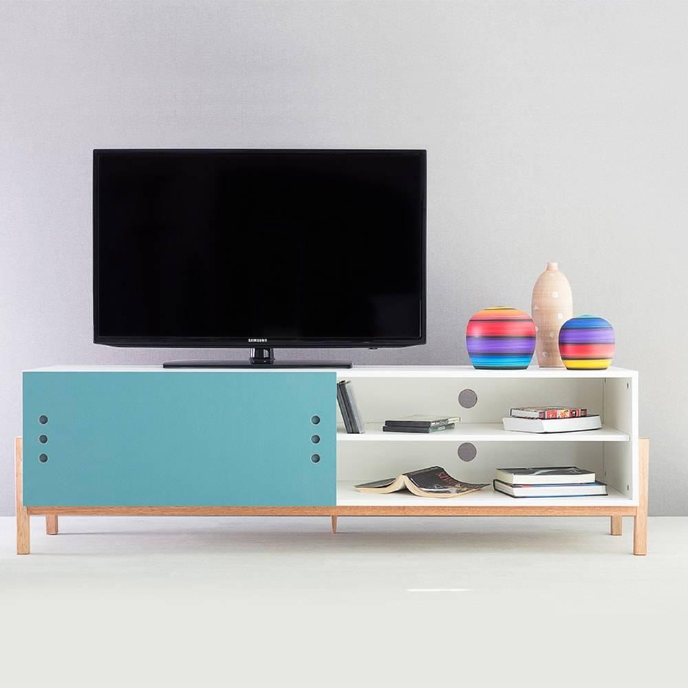 Rack para TV Eric Branco Longilíneo com Porta de Correr Azul em MDF - 166x48,5 cm
