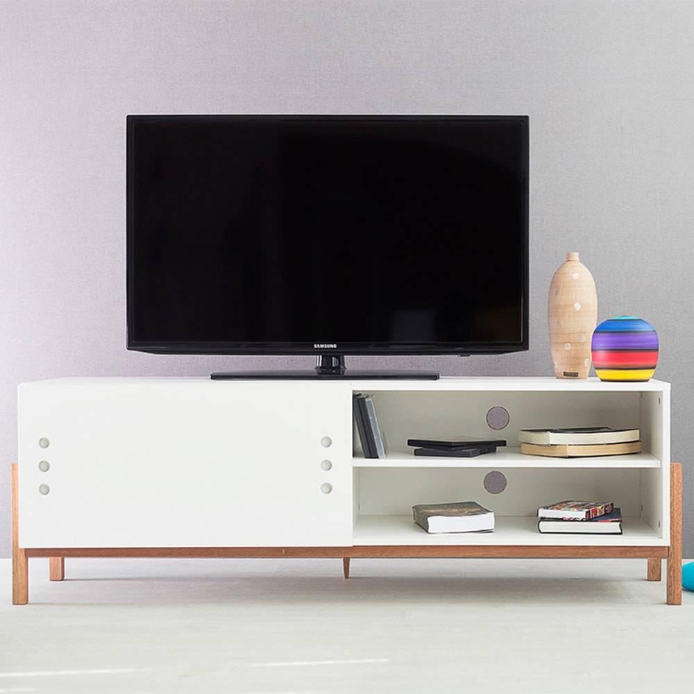 Rack para TV Eric Branco Longilíneo com Porta de Correr Branca em MDF - 146x48,5 cm