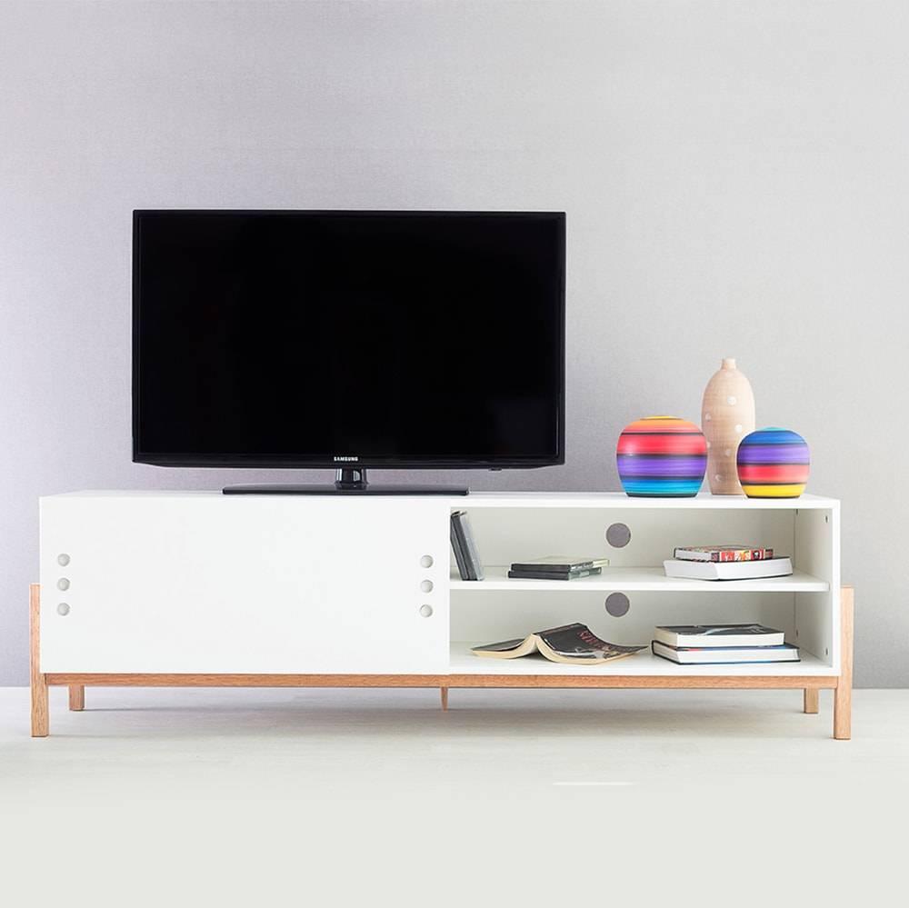 Rack para TV Eric Branco Longilíneo com Porta de Correr Branca em MDF - 166x48,5 cm