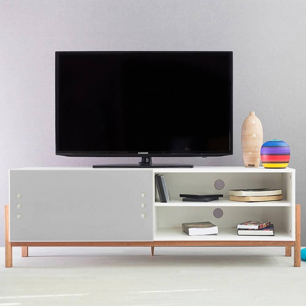 Rack para TV Eric Branco Longilíneo com Porta de Correr Cinza em MDF - 146x48,5 cm