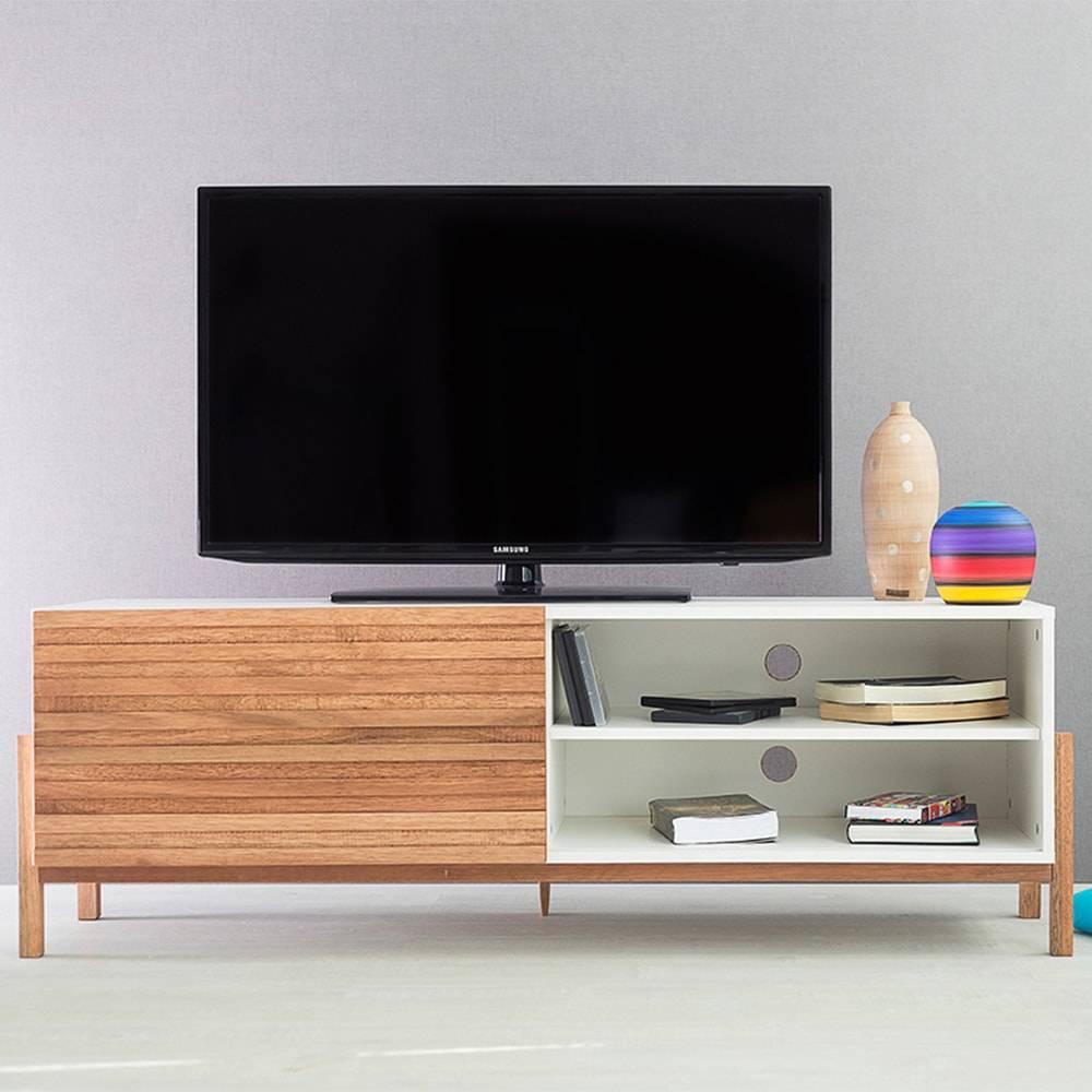 Rack para TV Eric Branco Longilíneo com Porta de Correr Jatobá em MDF - 146x48,5 cm