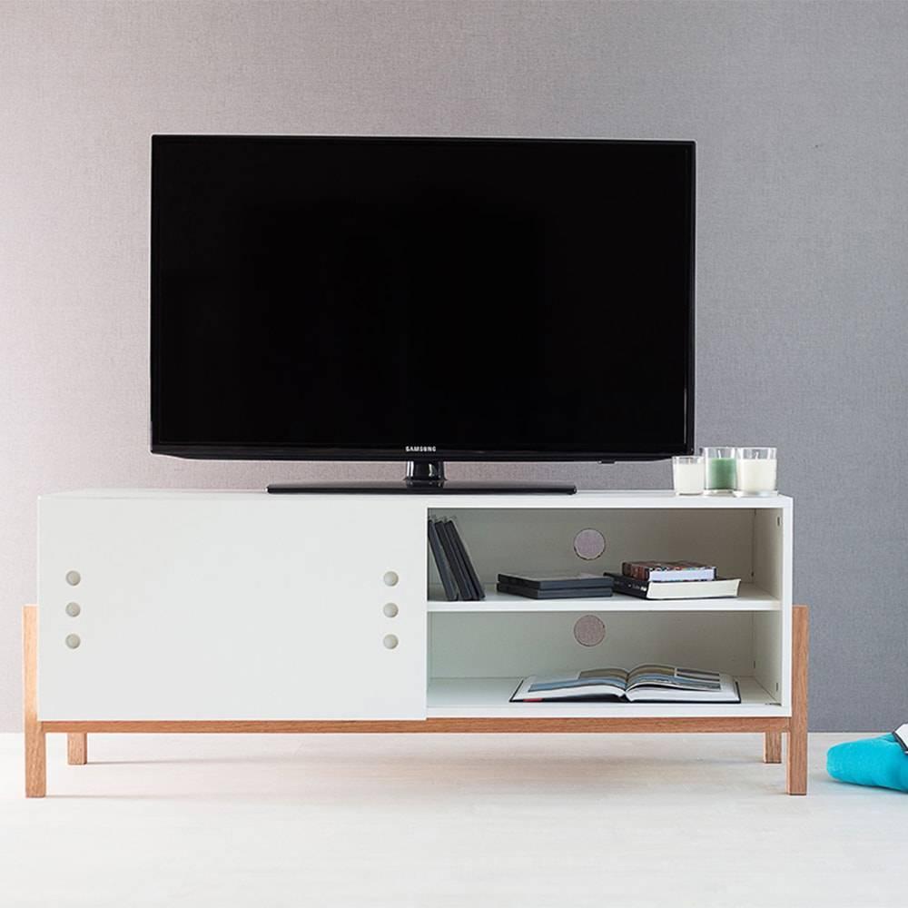 Rack para TV Eric Branco com Porta de Correr Branca em MDF - 126x48,5 cm