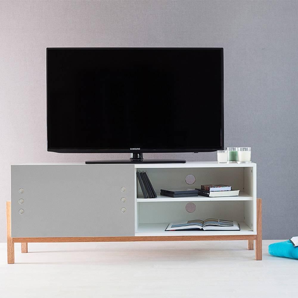 Rack para TV Eric Branco com Porta de Correr Cinza em MDF - 126x48,5 cm
