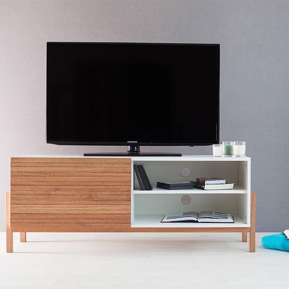 Rack para TV Eric Branco com Porta de Correr Jatobá em MDF - 126x48,5 cm