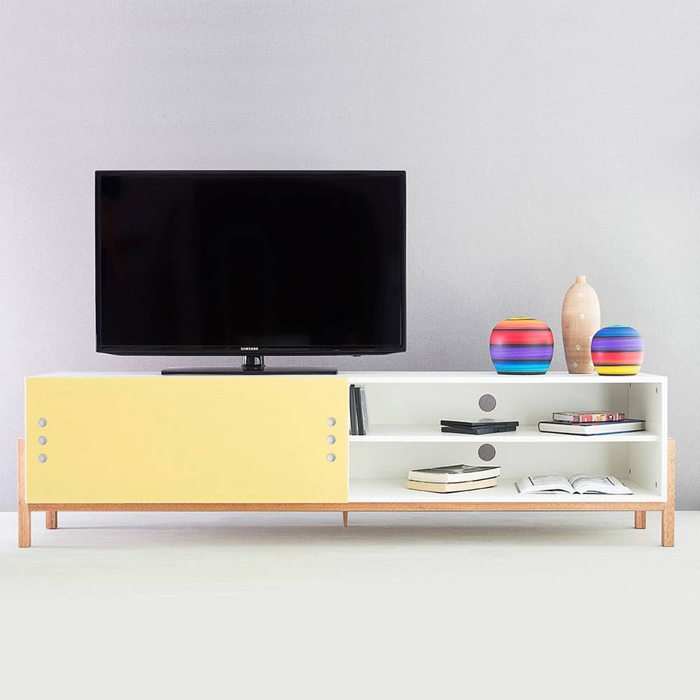 Rack para TV Eric Extreme Branco com Porta de Correr Amarela em MDF - 186x48,5 cm