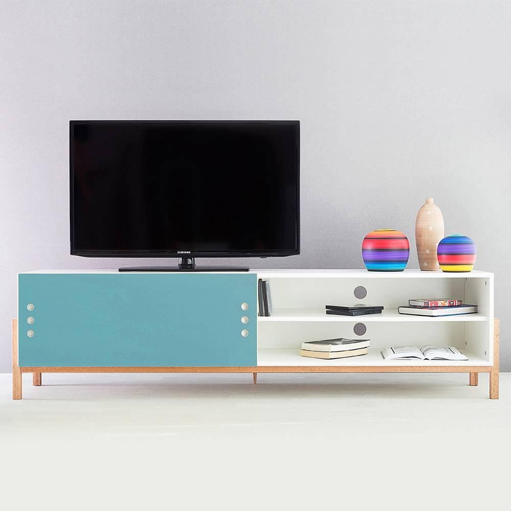 Rack para TV Eric Extreme Branco com Porta de Correr Azul em MDF - 186x48,5 cm