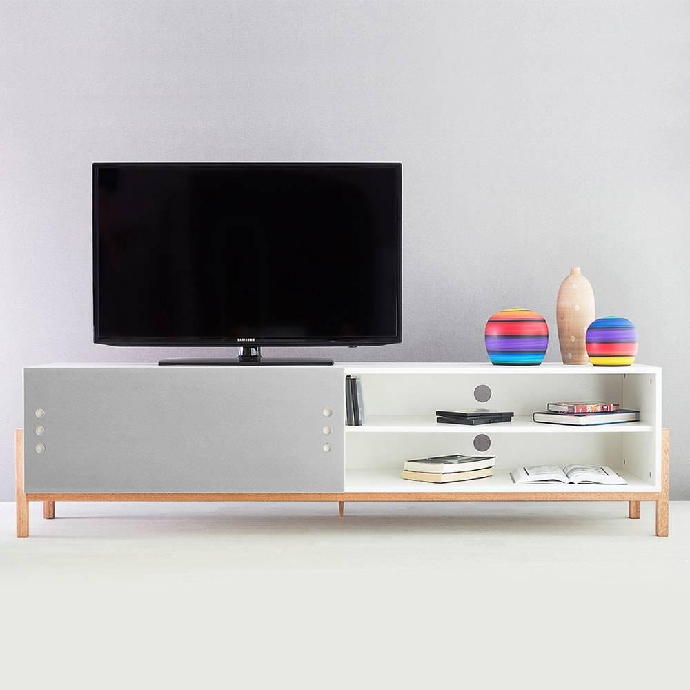 Rack para TV Eric Extreme Branco com Porta de Correr Cinza em MDF - 186x48,5 cm