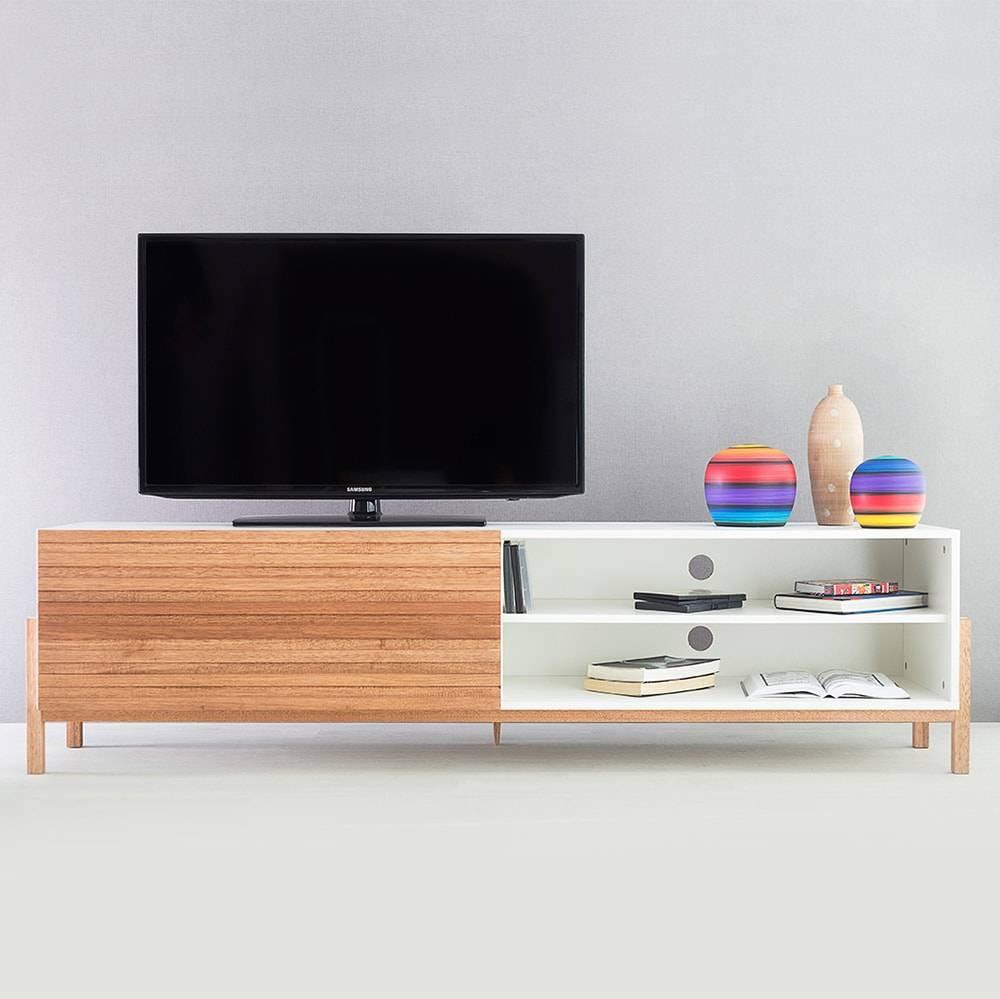 Rack para TV Eric Extreme Branco com Porta de Correr Jatobá em MDF - 186x48,5 cm