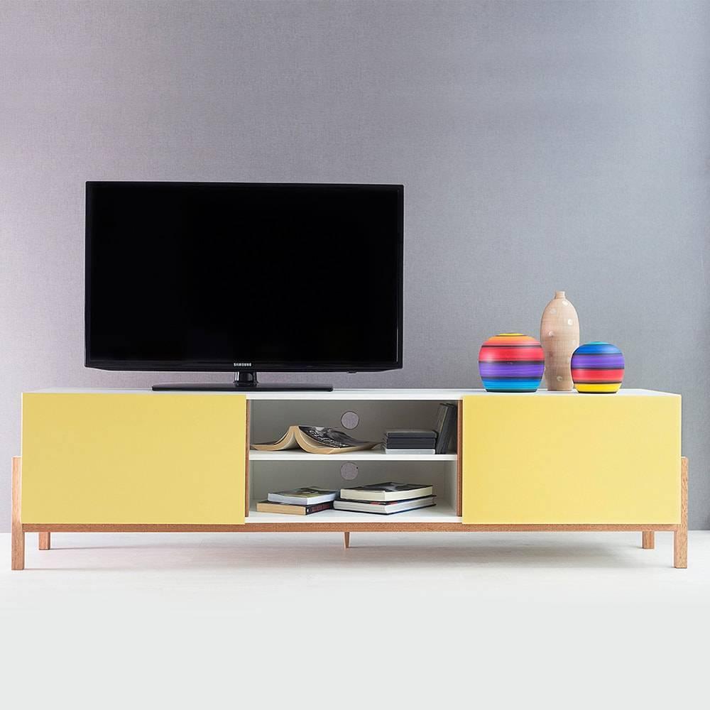 Rack para TV Eric Extreme Branco/Amarelo 2 Portas em MDF - 186x48,5 cm