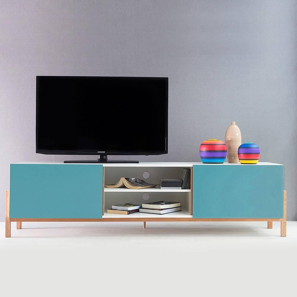 Rack para TV Eric Extreme Branco/Azul 2 Portas em MDF - 186x48,5 cm