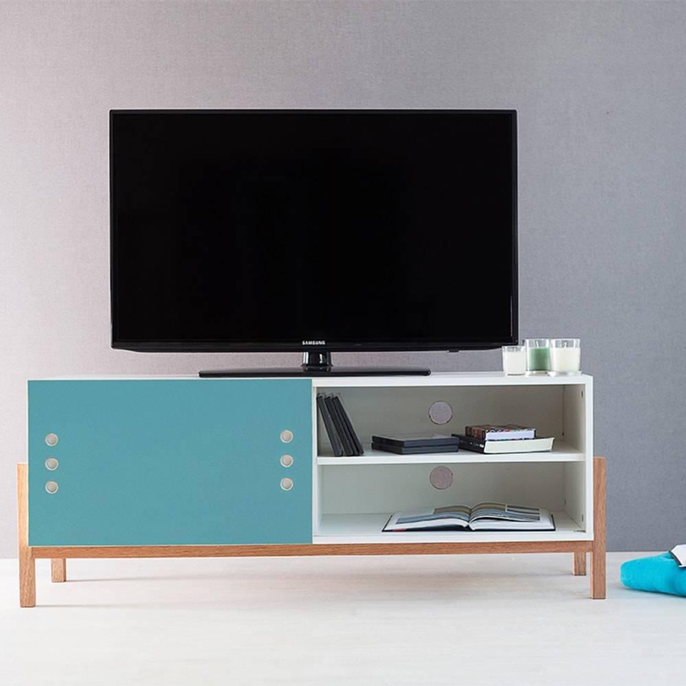 Rack para TV Eric com Porta de Correr Branco e Azul em MDF - 126x48,5 cm