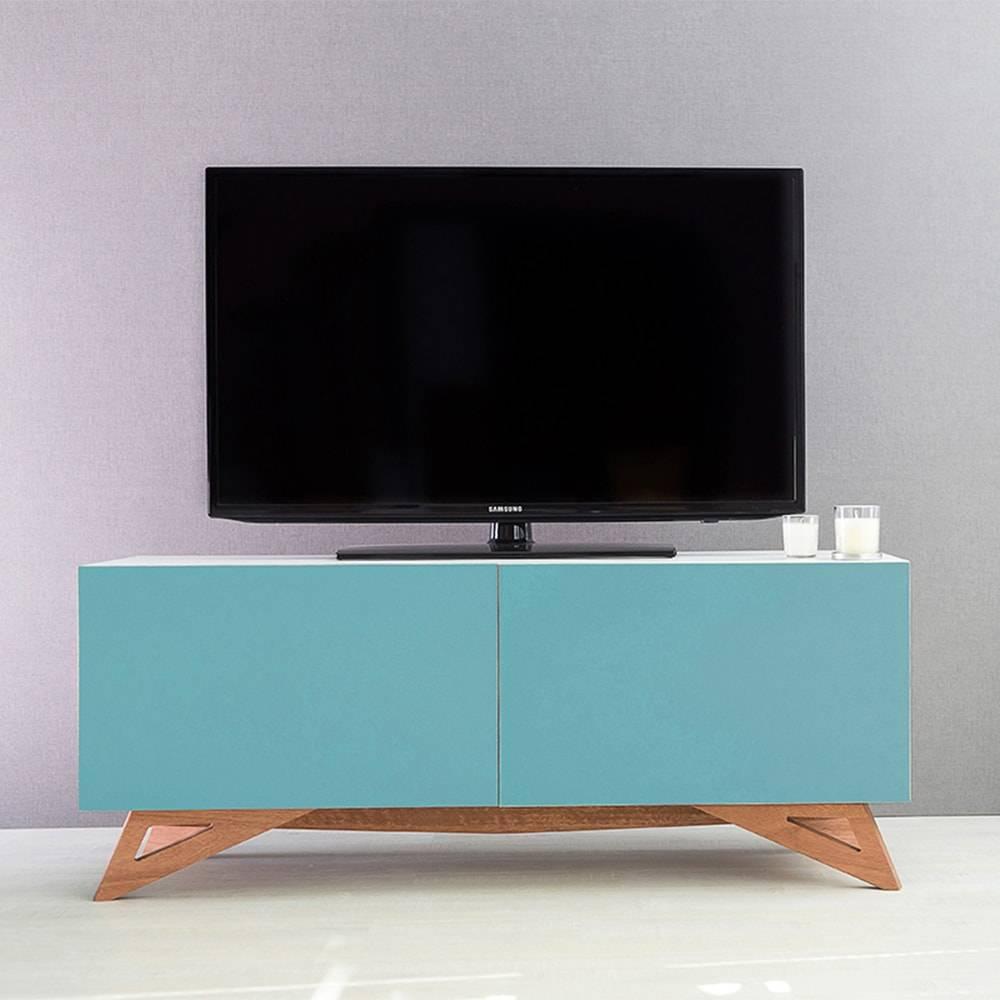 Rack para TV Freddie Branco 2 Portas Azul em MDF - 120x48,5 cm