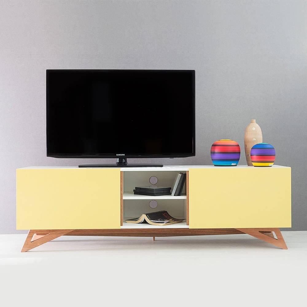 Rack para TV Freddie Branco Longilíneo com Porta de Correr Amarelo em MDF - 160x48,5 cm