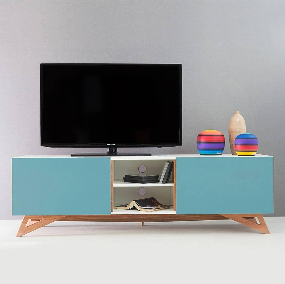 Rack para TV Freddie Branco Longilíneo com Porta de Correr Azul em MDF - 160x48,5 cm