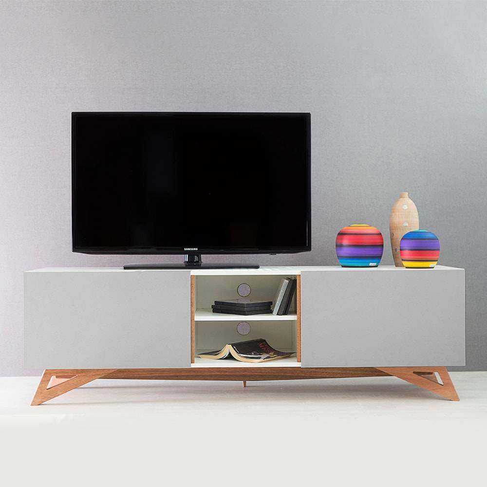 Rack para TV Freddie Branco Longilíneo com Porta de Correr Cinza em MDF - 160x48,5 cm