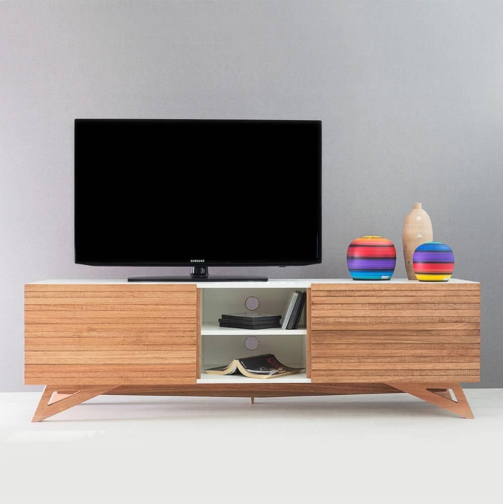 Rack para TV Freddie Branco Longilíneo com Porta de Correr Jatobá em MDF - 160x48,5 cm