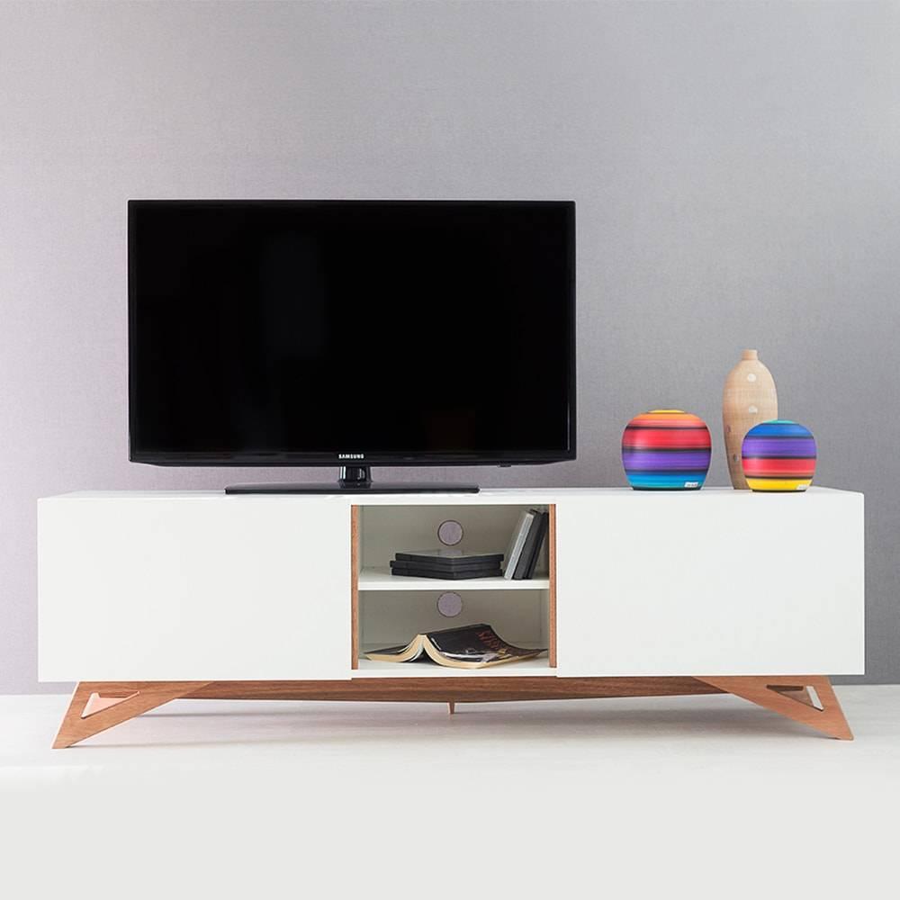 Rack para TV Freddie Branco Longilíneo com Porta de Correr em MDF - 160x48,5 cm