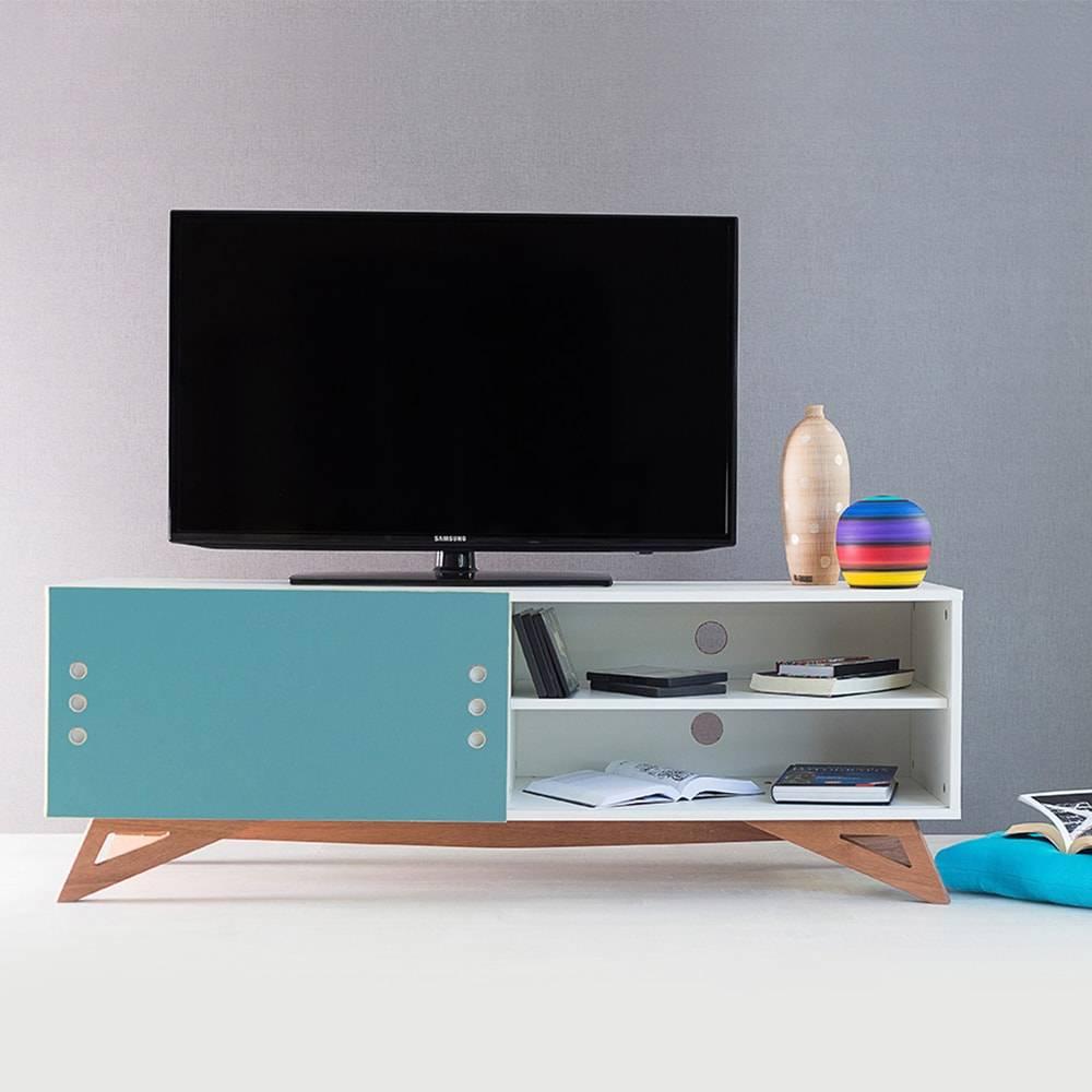 Rack para TV Freddie Branco com Porta de Correr Azul em MDF - 140x48,5 cm