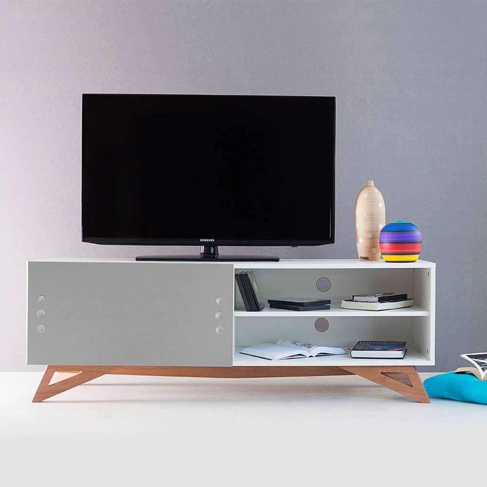 Rack para TV Freddie Branco com Porta de Correr Cinza em MDF - 140x48,5 cm