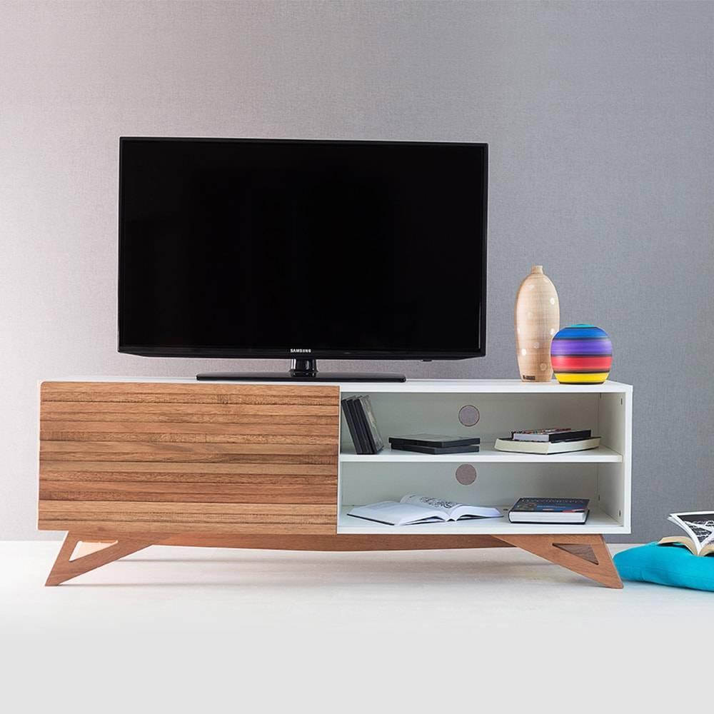 Rack para TV Freddie Branco com Porta de Correr Jatobá em MDF - 140x48,5 cm
