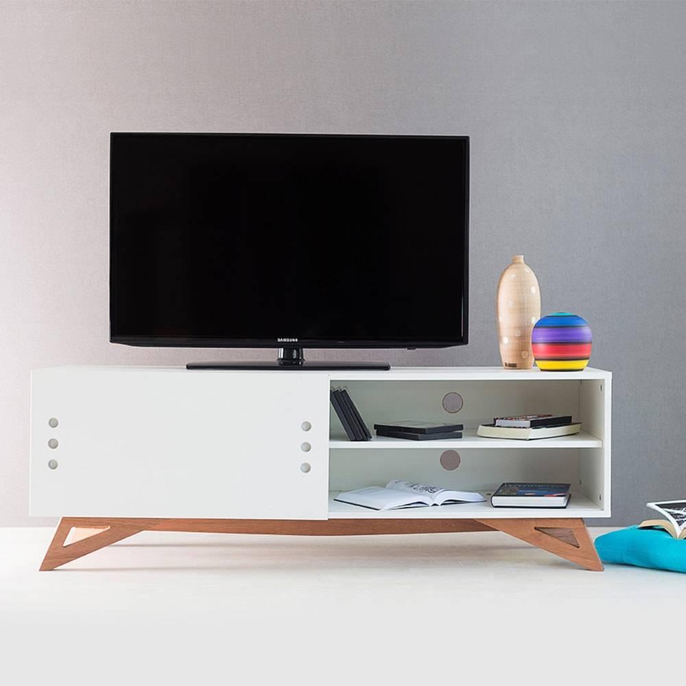 Rack para TV Freddie Branco com Porta de Correr em MDF - 140x48,5 cm