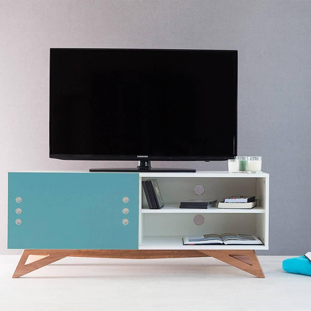 Rack para TV Freddie Compact Branco com Porta de Correr Azul em MDF - 120x48,5 cm