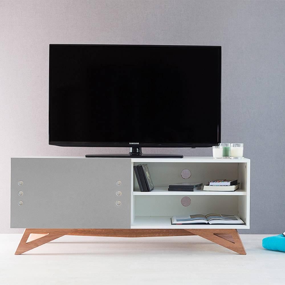 Rack para TV Freddie Compact Branco com Porta de Correr Cinza em MDF - 120x48,5 cm