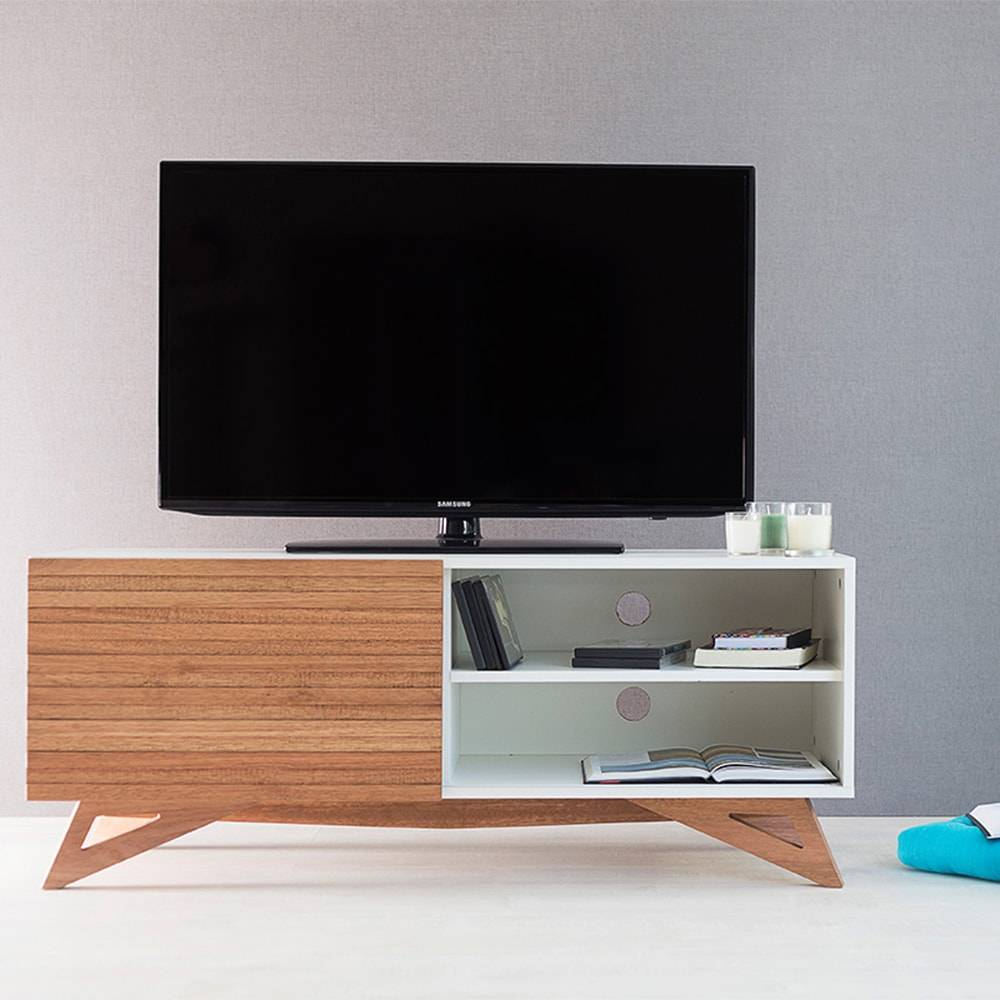 Rack para TV Freddie Compact Branco com Porta de Correr Jatobá em MDF - 120x48,5 cm