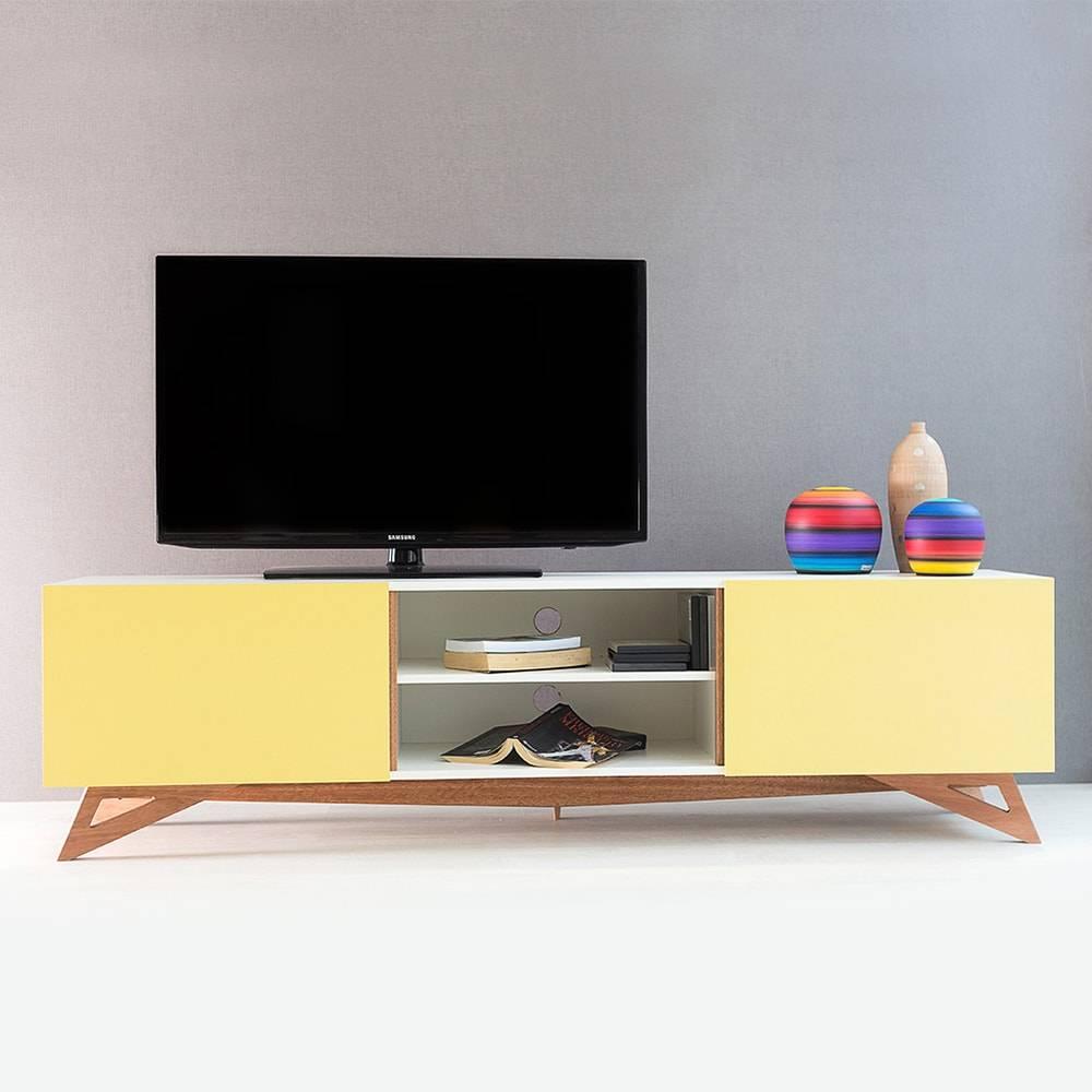 Rack para TV Freddie Extreme Branco com 2 Portas Amarelas em MDF - 180x48,5 cm