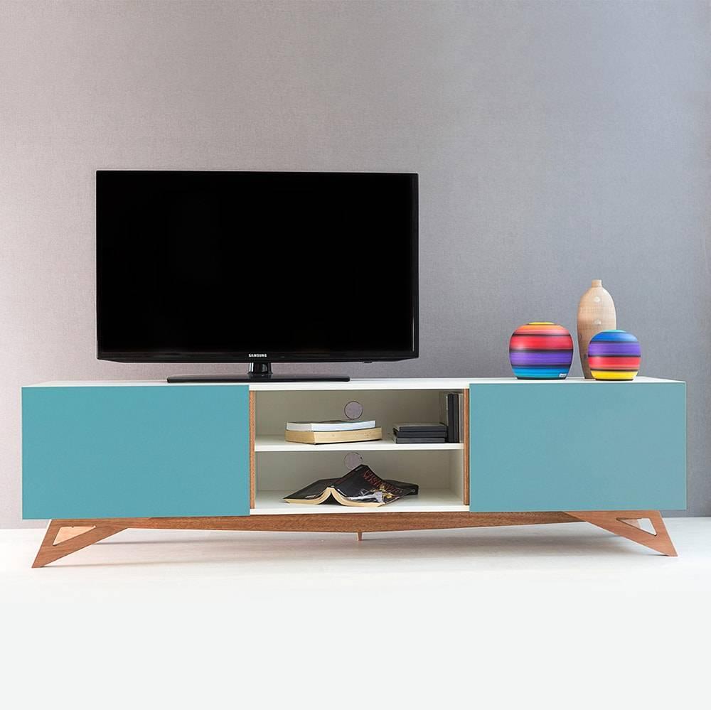 Rack para TV Freddie Extreme Branco com 2 Portas Azul em MDF - 180x48,5 cm
