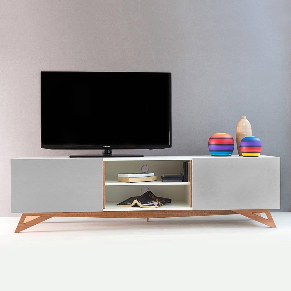 Rack para TV Freddie Extreme Branco com 2 Portas Cinza em MDF - 180x48,5 cm